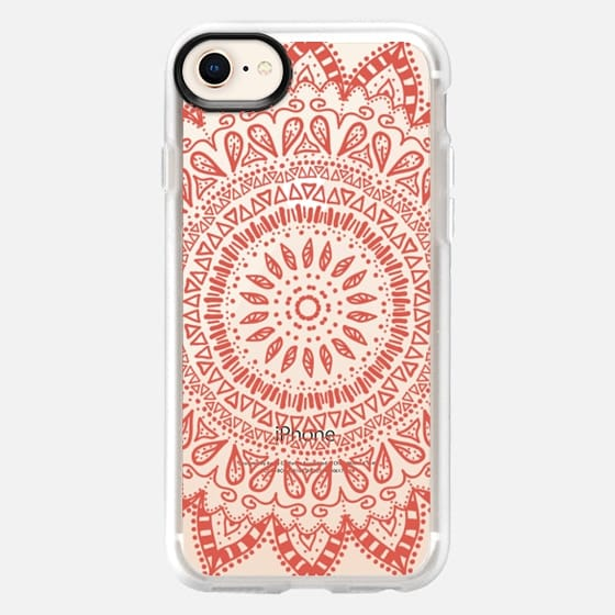 BOHEMIAN FLOWER MANDALA IN CORAL - CRYSTAL CLEAR PHONE CASE - Snap Case