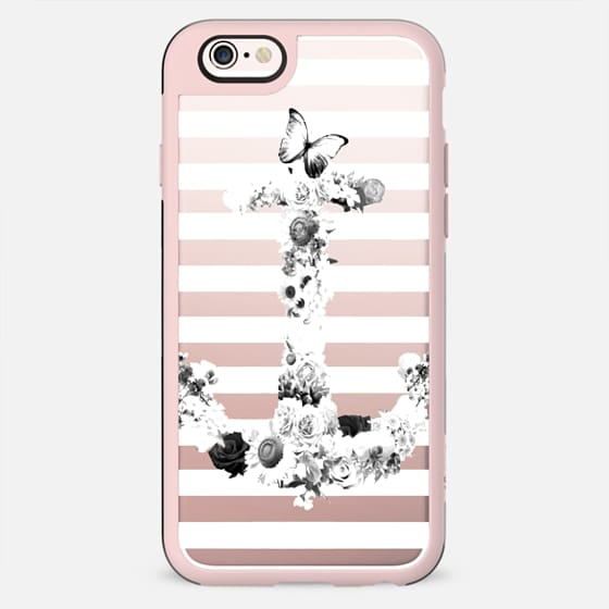 FLORAL ANCHOR IN BLACK AND WHITE- CRYSTAL CLEAR PHONE CASE - New Standard Case