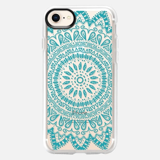 BOHEMIAN FLOWER MANDALA IN BLUE - CRYSTAL CLEAR PHONE CASE - Snap Case