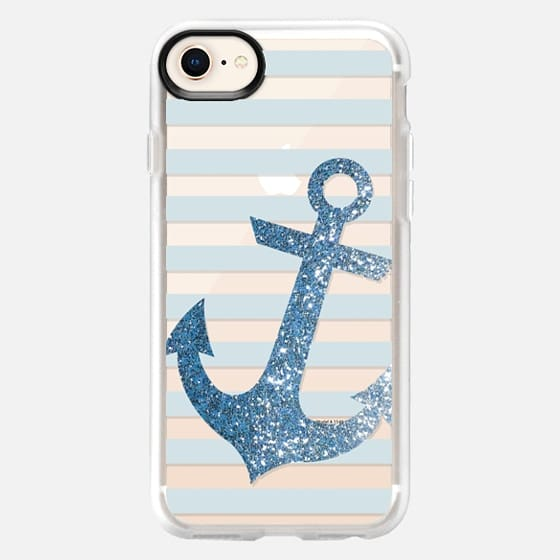 Glitter Anchor in Blue - Snap Case