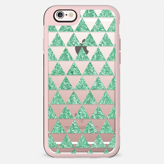 Glitter Triangles in Mint - Phone Crystal Clear Case - New Standard Case