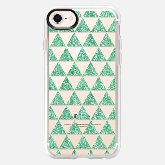 Glitter Triangles in Mint - Phone Crystal Clear Case - Snap Case
