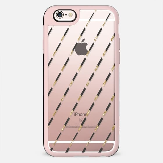 GLITTER GOLD DIAGONALS - CRYSTAL CLEAR PHONE CASE