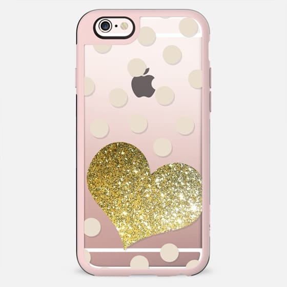GLITTER LOVE HEART IN GOLD WITH DOTS - CRYSTAL CLEAR PHONE CASE - New Standard Case