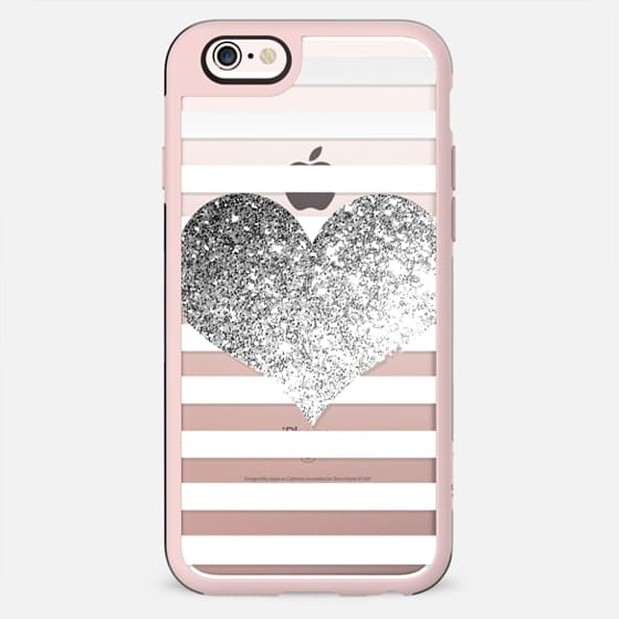 GLITTER LOVE HEART IN WHITE AND SILVER