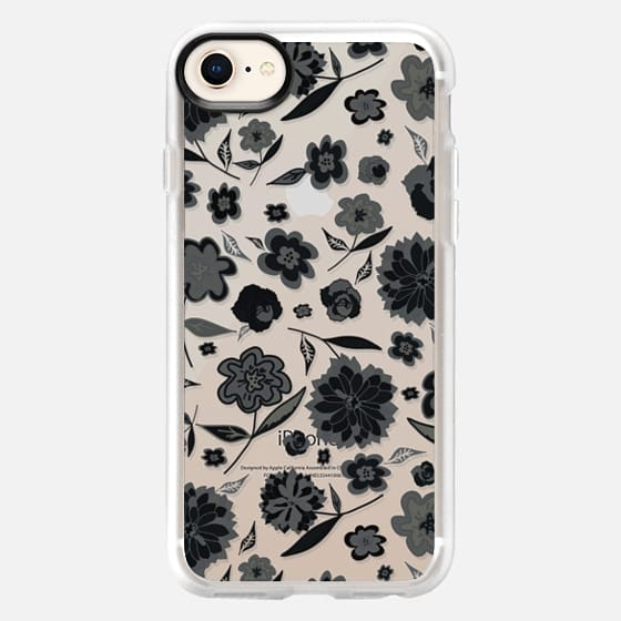 CUTE FLORAL BW- IPHONE CRYSTAL CLEAR CASE - Snap Case