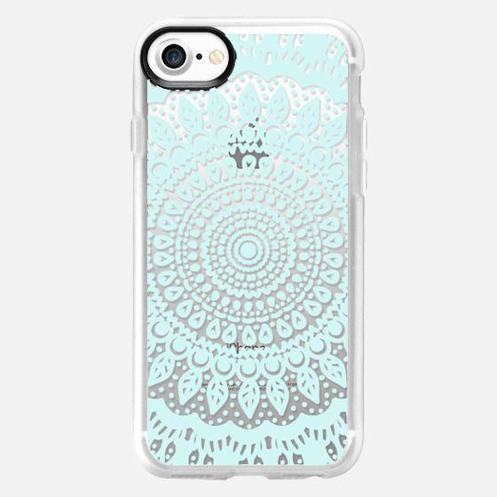 Tribal Boho Mandala in Teal // Crystal Clear Phone Case - Classic Grip Case