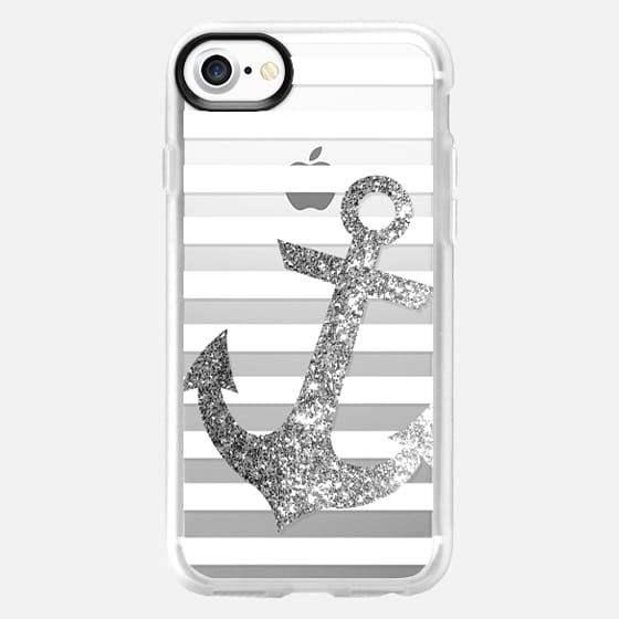GLITTER ANCHOR IN SILVER - CRYSTAL CLEAR PHONE CASE - Classic Grip Case
