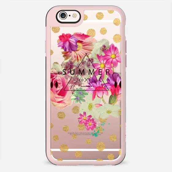SUMMER LOVE WITH GOLDEN DOTS - CRYSTAL CLEAR PHONE CASE