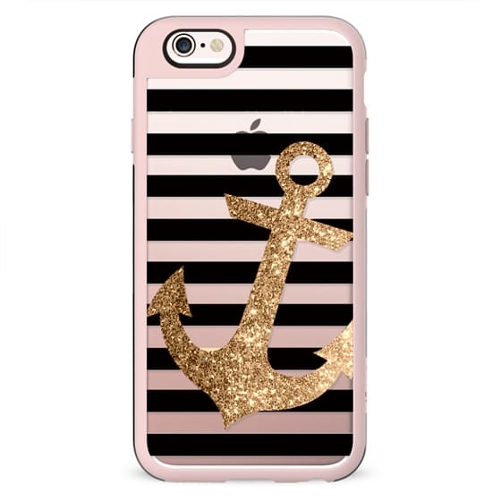 GLITTER ANCHOR IN GOLD AND BLACK - CRYSTAL CLEAR PHONE CASE