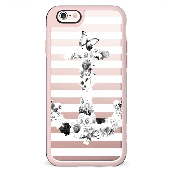 FLORAL ANCHOR IN BLACK AND WHITE- CRYSTAL CLEAR PHONE CASE