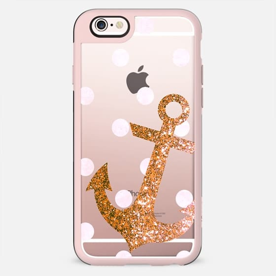 GLITTER ANCHOR IN CORAL WITH DOTS- CRYSTAL CLEAR PHONE CASE - New Standard Case