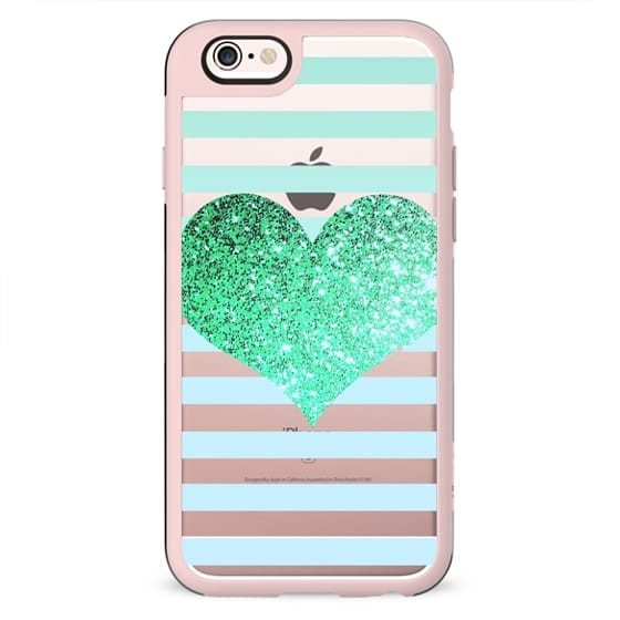 GLITTER LOVE HEART IN TEAL - CRYSTAL CLEAR PHONE CASE
