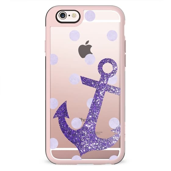 Glitter Anchor with dots in Purple