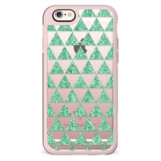 Glitter Triangles in Mint - Phone Crystal Clear Case