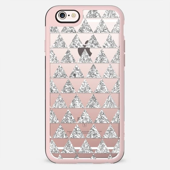 Glitter Triangles in Silver - Phone Crystal Clear Case