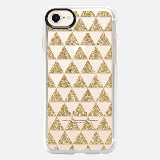 Glitter Triangles in Gold - Phone Crystal Clear Case - Snap Case