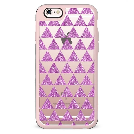GLITTER TRIANGLES IN PINK - CRYSTAL CLEAR IPHONE CASE