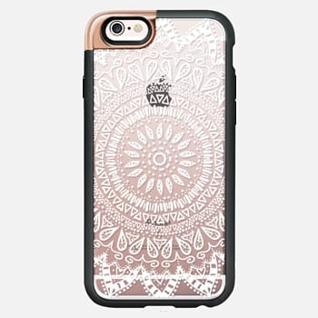 iPhone 6s Case BOHEMIAN FLOWER MANDALA IN WHITE - CRYSTAL CLEAR PHONE CASE