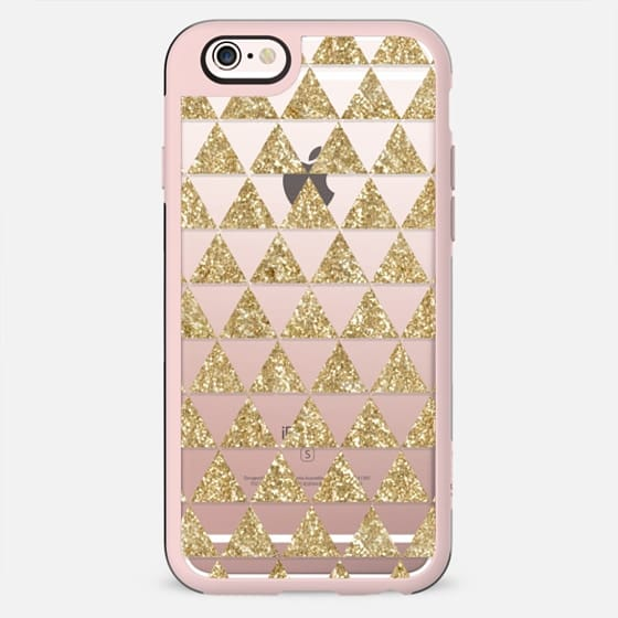 Glitter Triangles in Gold - Phone Crystal Clear Case