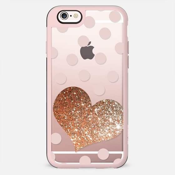 GLITTER GOLD LOVE HEART IN CORAL - CRYSTAL CLEAR PHONE CASE - New Standard Case