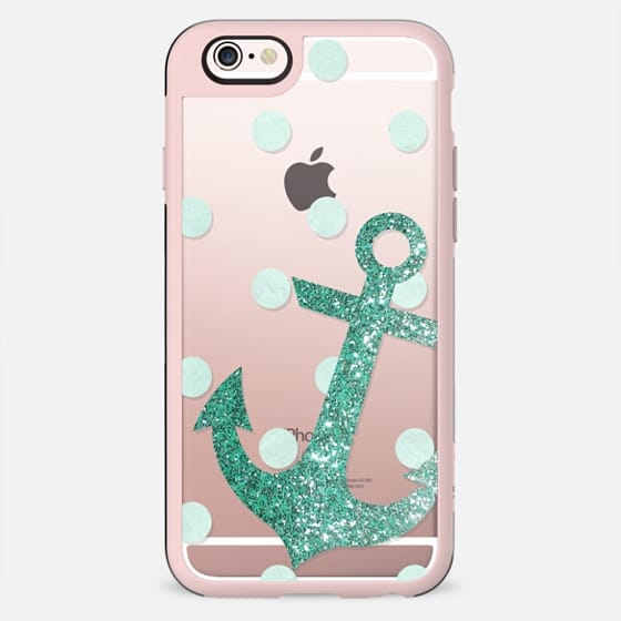 Glitter Anchor with dots in Mint