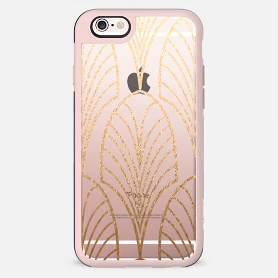 GOLD ARTDECO FEATHER - CRYSTAL CLEAR PHONE CASE - New Standard Case