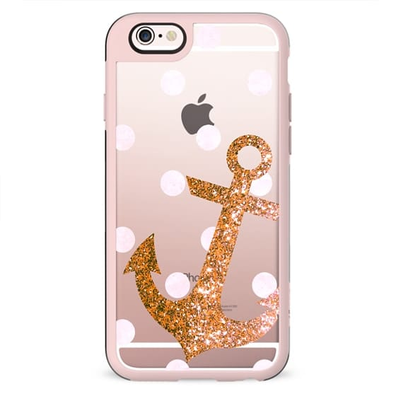 GLITTER ANCHOR IN CORAL WITH DOTS- CRYSTAL CLEAR PHONE CASE