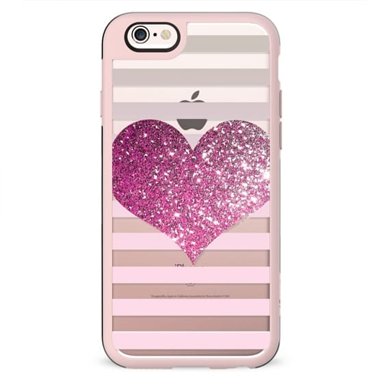 PINK GLITTER LOVE HEART - CRYSTAL CLEAR PHONE CASE