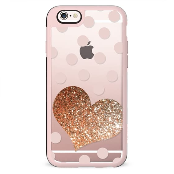 GLITTER GOLD LOVE HEART IN CORAL - CRYSTAL CLEAR PHONE CASE