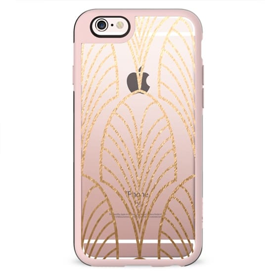 GOLD ARTDECO FEATHER - CRYSTAL CLEAR PHONE CASE