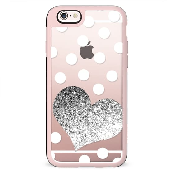 GLITTER LOVE HEART IN SILVER WITH DOTS - CRYSTAL CLEAR PHONE CASE