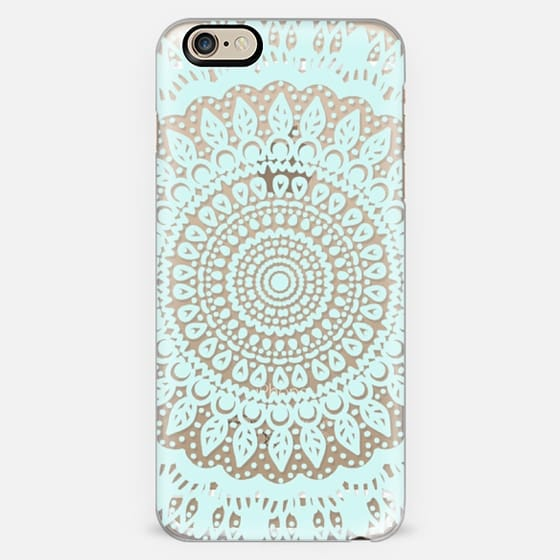 Tribal Boho Mandala in Teal // Crystal Clear Phone Case -