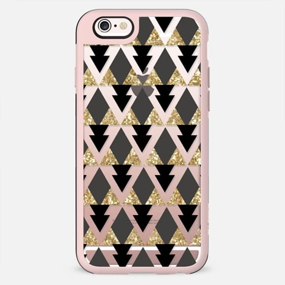 Glitter Geometric Triangles in gold and black - Phone Crystal Clear Case - New Standard Case