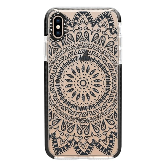 iPhone XS Max Cases - BOHEMIAN FLOWER MANDALA - CRYSTAL CLEAR PHONE CASE