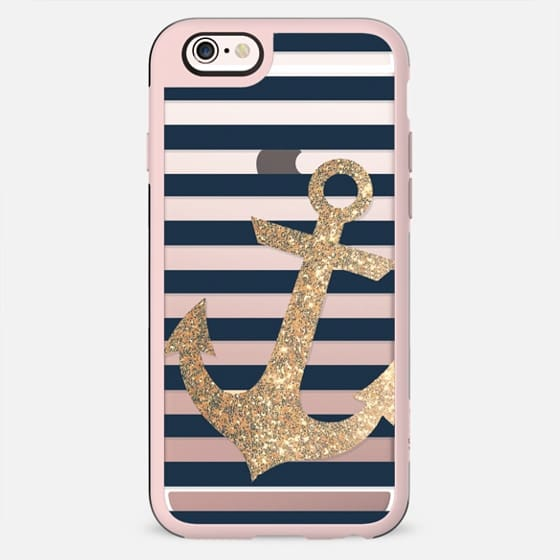 GLITTER ANCHOR IN GOLD AND NAVY - TRANSPARENT CASE - New Standard Case