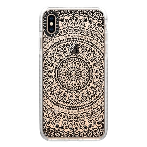 iPhone XS Max Cases - BLACK FEATHER MANDALA - CRYSTAL CLEAR PHONE CASE