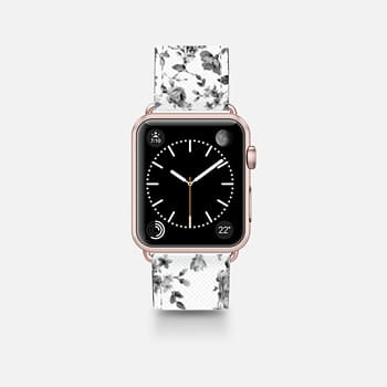 Leather Watch Band -  VINTAGE FLOWERS IN WHITE - APPLE WATCH
