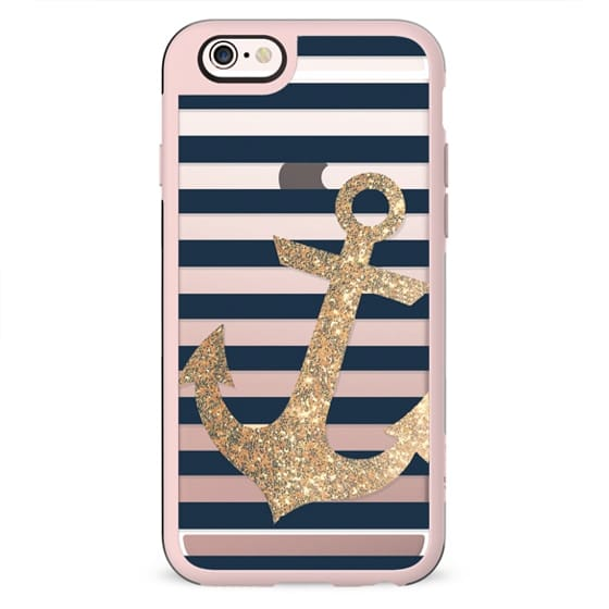 GLITTER ANCHOR IN GOLD AND NAVY - TRANSPARENT CASE