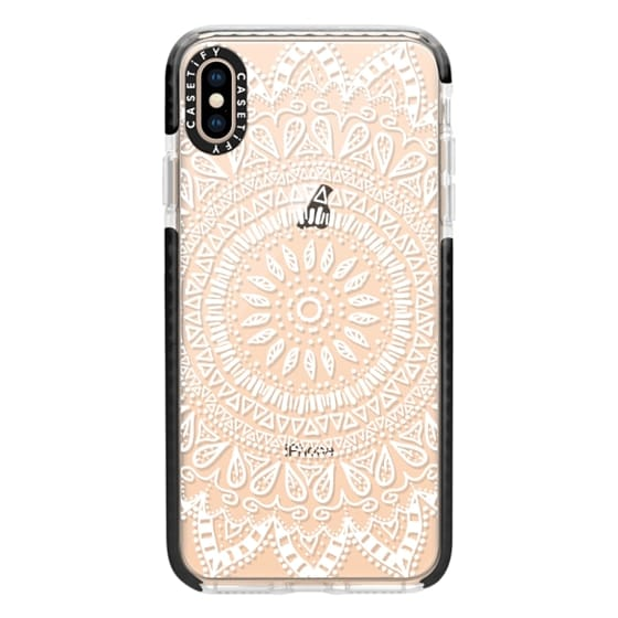 iPhone XS Max Cases - BOHEMIAN FLOWER MANDALA IN WHITE - CRYSTAL CLEAR PHONE CASE