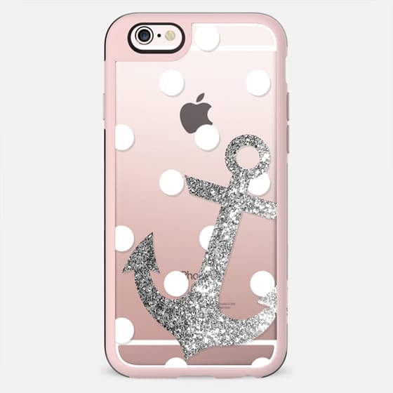 Glitter Anchor with dots in Silver - New Standard Case