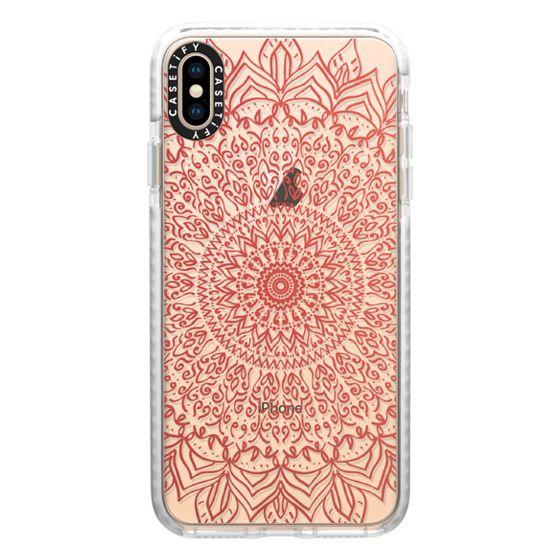 iPhone XS Max Cases - BOHO CORAL MANDALA - CRYSTAL CLEAR PHONE CASE