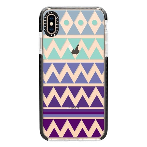 iPhone XS Max Cases - PURPLE TRIBAL CHEVRON - Crystal Clear Phone Case