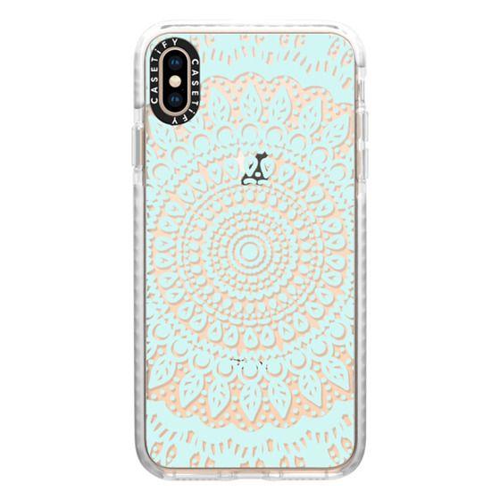 iPhone XS Max Cases - Tribal Boho Mandala in Teal // Crystal Clear Phone Case