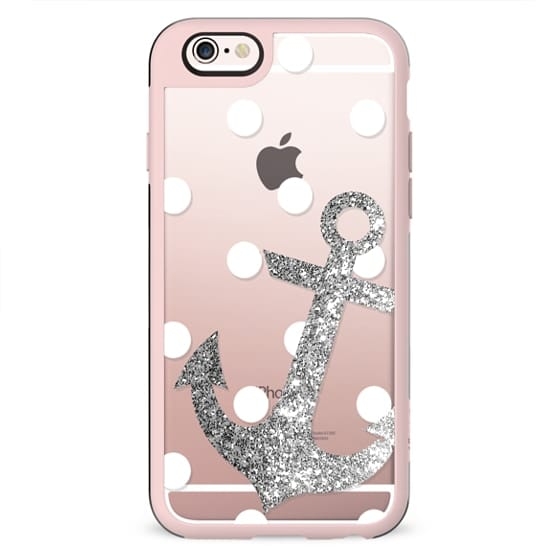 Glitter Anchor with dots in Silver
