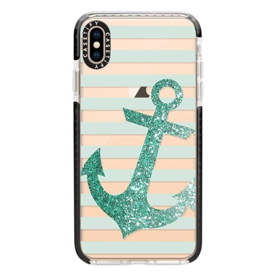 iPhone XS Max Cases - Glitter Anchor in Mint
