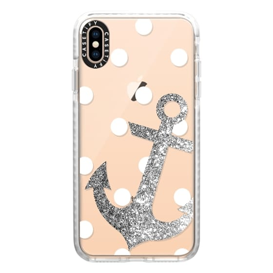 iPhone XS Max Cases - Glitter Anchor with dots in Silver