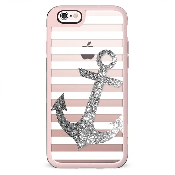 GLITTER ANCHOR IN SILVER - CRYSTAL CLEAR PHONE CASE