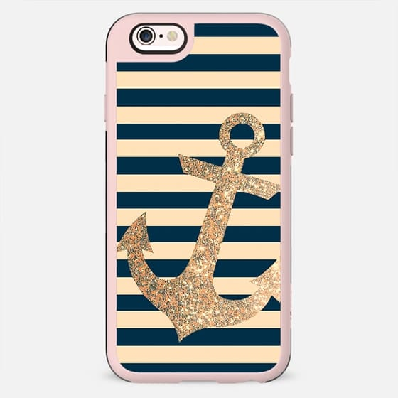 GLITTER ANCHOR IN GOLD AND NAVY - PHONE CASE - New Standard Case