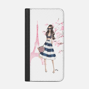 iPhone ウォレットケース -  Printemps a Paris (Brunette)